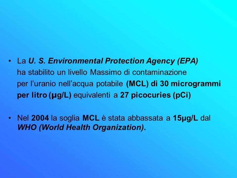La U. S. Environmental Protection Agency (EPA) ha stabilito un livello Massimo di contaminazione per luranio nellacqua potabile (MCL) di 30 microgramm
