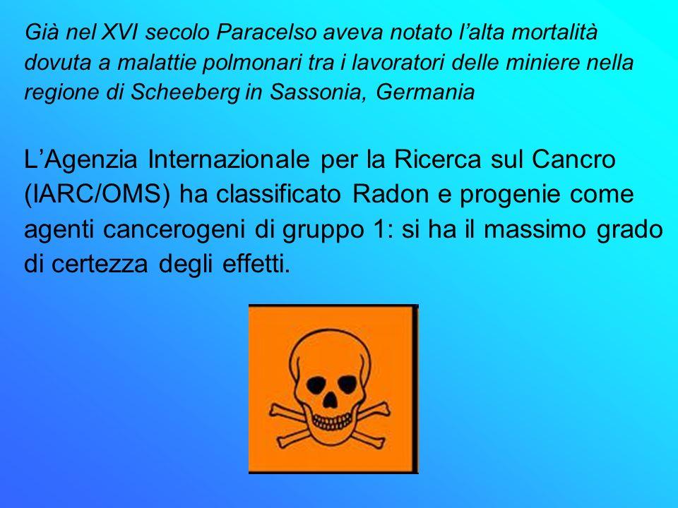Già nel XVI secolo Paracelso aveva notato lalta mortalità dovuta a malattie polmonari tra i lavoratori delle miniere nella regione di Scheeberg in Sas