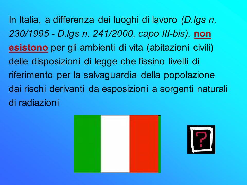 In Italia, a differenza dei luoghi di lavoro (D.lgs n. 230/1995 - D.lgs n. 241/2000, capo III-bis), non esistono per gli ambienti di vita (abitazioni