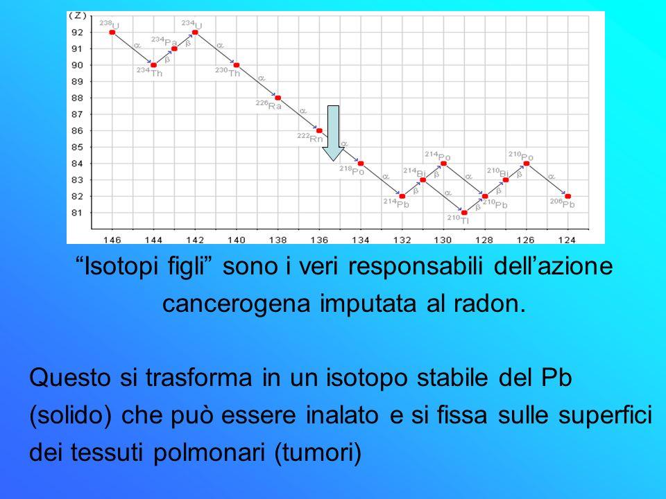 Il radon è un elemento inerte elettricamente neutro così come viene inspirato, sarà espirato Isotopi figli sono i veri responsabili dellazione cancero