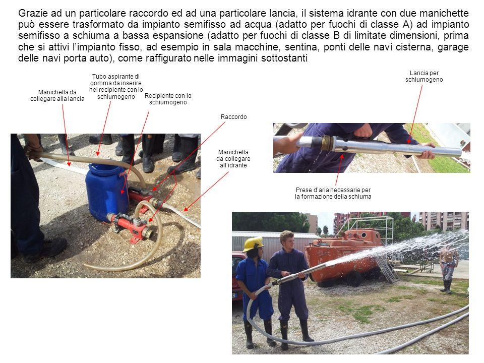 Grazie ad un particolare raccordo ed ad una particolare lancia, il sistema idrante con due manichette può essere trasformato da impianto semifisso ad