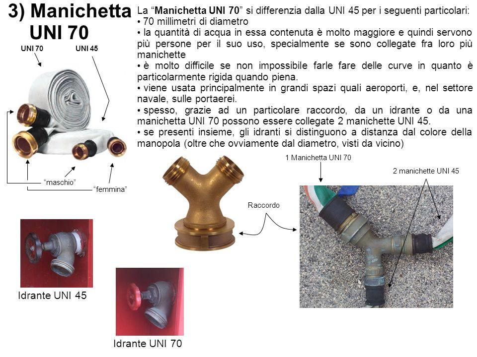 3) Manichetta UNI 70 La Manichetta UNI 70 si differenzia dalla UNI 45 per i seguenti particolari: 70 millimetri di diametro la quantità di acqua in es