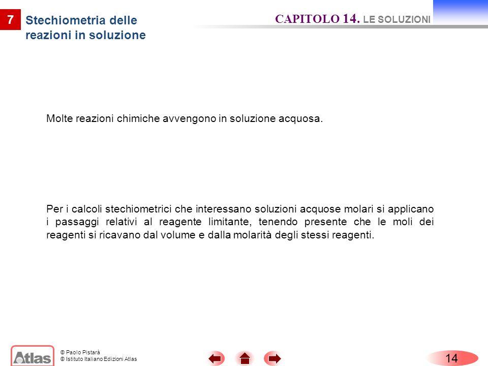 © Paolo Pistarà © Istituto Italiano Edizioni Atlas Molte reazioni chimiche avvengono in soluzione acquosa.
