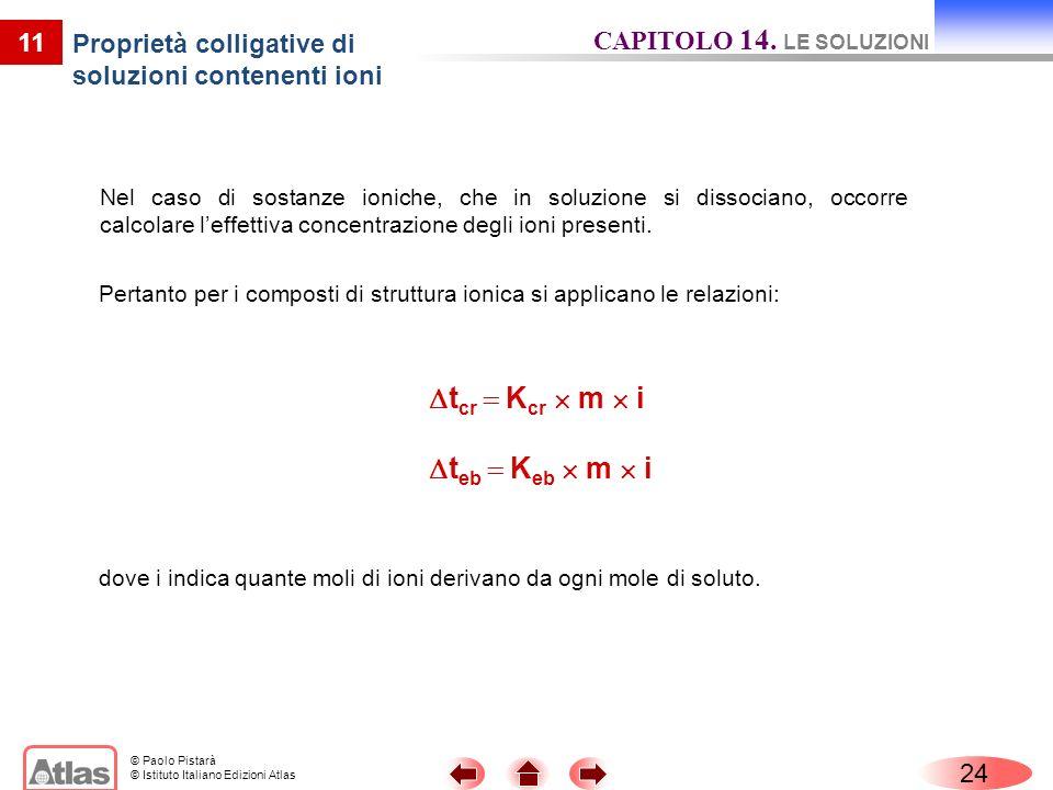 © Paolo Pistarà © Istituto Italiano Edizioni Atlas Nel caso di sostanze ioniche, che in soluzione si dissociano, occorre calcolare leffettiva concentrazione degli ioni presenti.
