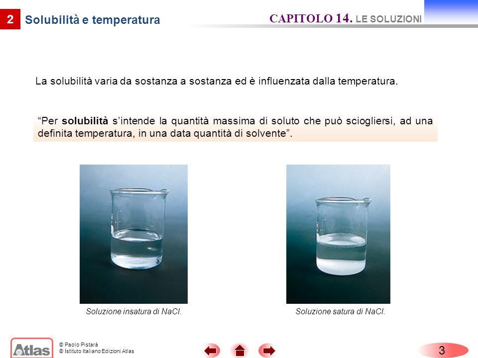 © Paolo Pistarà © Istituto Italiano Edizioni Atlas La solubilità varia da sostanza a sostanza ed è influenzata dalla temperatura.