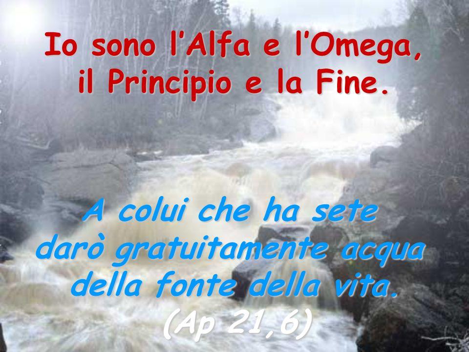 Io sono lAlfa e lOmega, il Principio e la Fine. A colui che ha sete darò gratuitamente acqua della fonte della vita. (Ap 21,6)