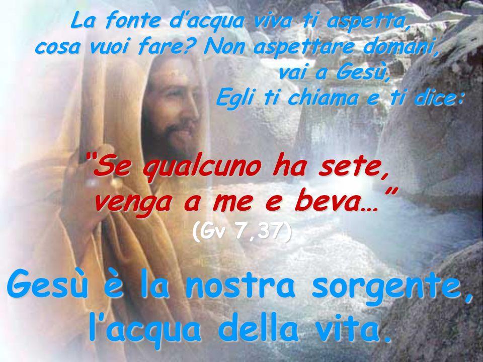 La fonte dacqua viva ti aspetta, cosa vuoi fare? Non aspettare domani, vai a Gesù, Egli ti chiama e ti dice: Se qualcuno ha sete, venga a me e beva… (