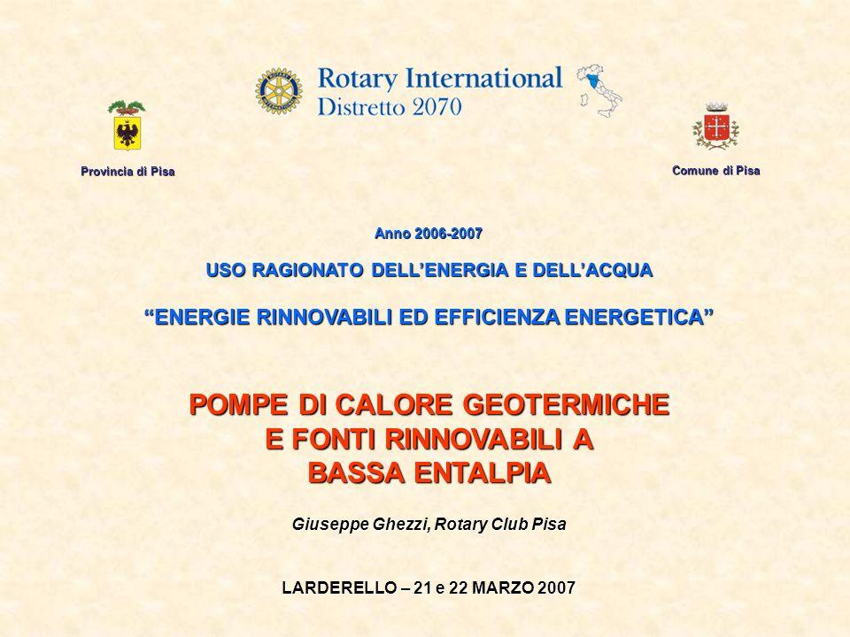 Provincia di Pisa Comune di Pisa Anno 2006-2007 USO RAGIONATO DELLENERGIA E DELLACQUA ENERGIE RINNOVABILI ED EFFICIENZA ENERGETICA POMPE DI CALORE GEO