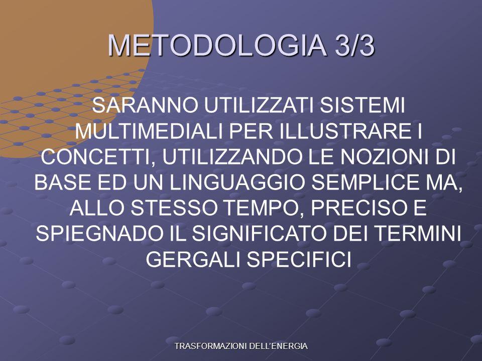 TRASFORMAZIONI DELLENERGIA METODOLOGIA 2/3 NELLE SPIEGAZIONI SI PARTIRA DALLA REALTA E DAL CONCRETO, PER GIUNGERE ALLE LEGGI DELLA SCIENZA, UTILIZZAND