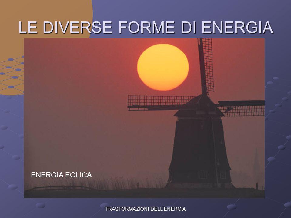 TRASFORMAZIONI DELLENERGIA LE DIVERSE FORME DI ENERGIA ENERGIA IDRAULICA