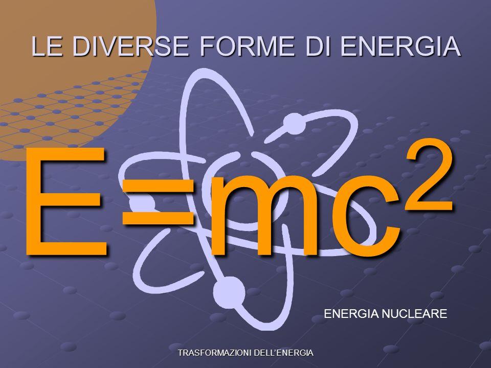 TRASFORMAZIONI DELLENERGIA LE DIVERSE FORME DI ENERGIA ENERGIA CINETICA
