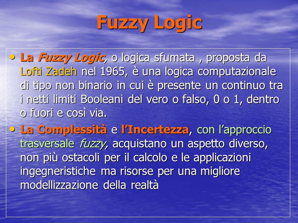 Fuzzy Logic La Fuzzy Logic, o logica sfumata, proposta da Lofti Zadeh nel 1965, è una logica computazionale di tipo non binario in cui è presente un continuo tra i netti limiti Booleani del vero o falso, 0 o 1, dentro o fuori e così via.