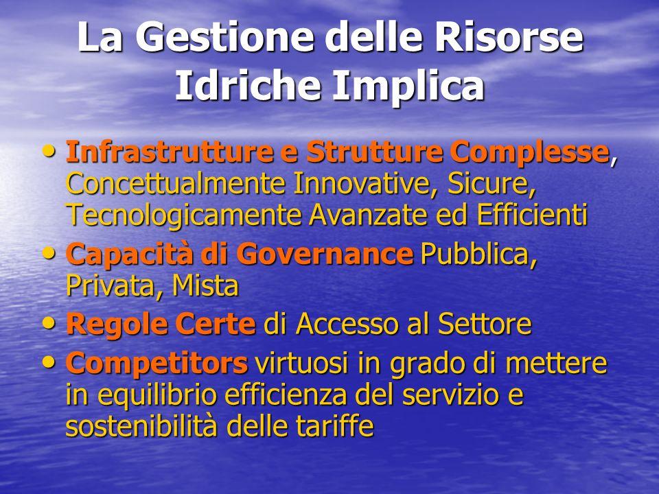 La Gestione delle Risorse Idriche Implica Infrastrutture e Strutture Complesse, Concettualmente Innovative, Sicure, Tecnologicamente Avanzate ed Effic