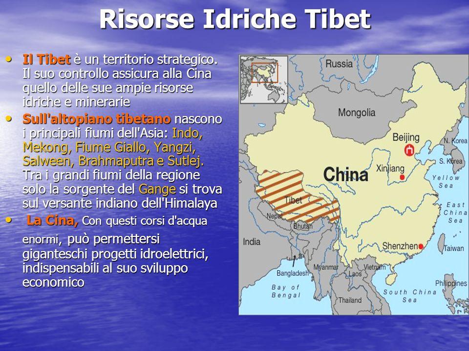 Risorse Idriche Tibet Il Tibet è un territorio strategico. Il suo controllo assicura alla Cina quello delle sue ampie risorse idriche e minerarie Il T