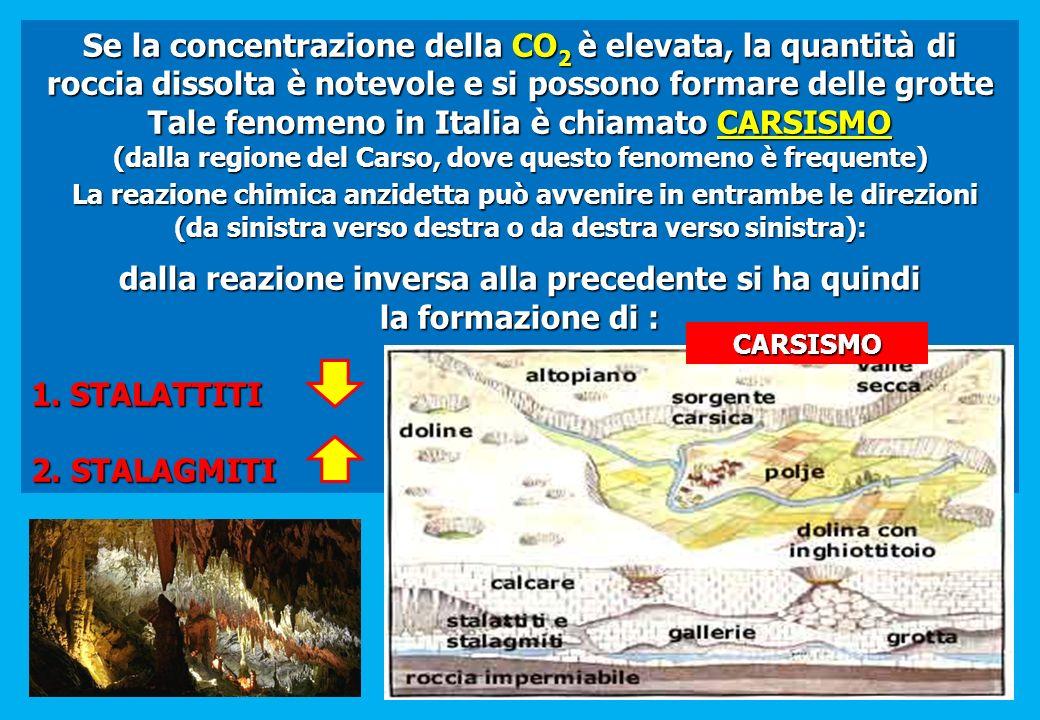 Se la concentrazione della CO 2 è elevata, la quantità di roccia dissolta è notevole e si possono formare delle grotte Tale fenomeno in Italia è chiam