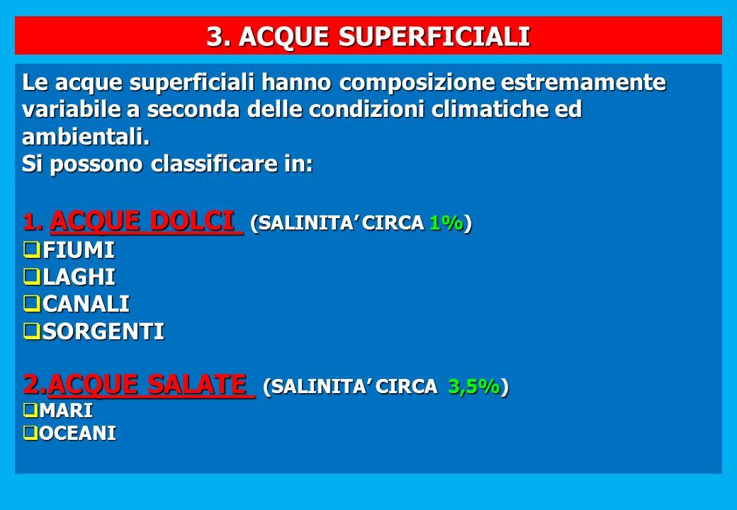 3. ACQUE SUPERFICIALI Le acque superficiali hanno composizione estremamente variabile a seconda delle condizioni climatiche ed ambientali. Si possono