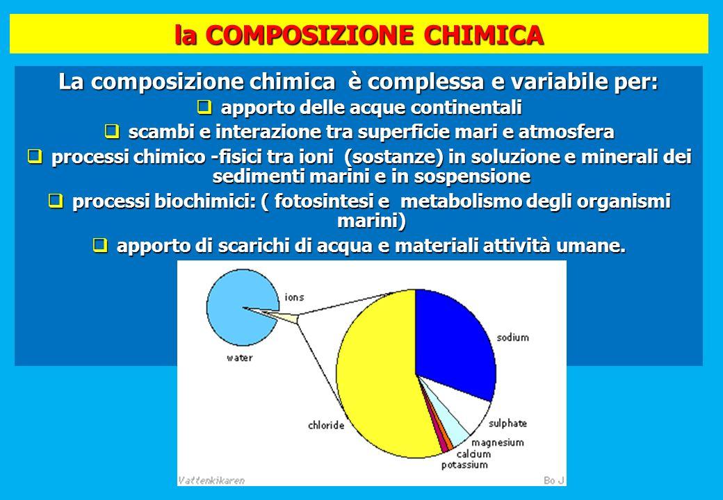 la COMPOSIZIONE CHIMICA La composizione chimica è complessa e variabile per: apporto delle acque continentali apporto delle acque continentali scambi