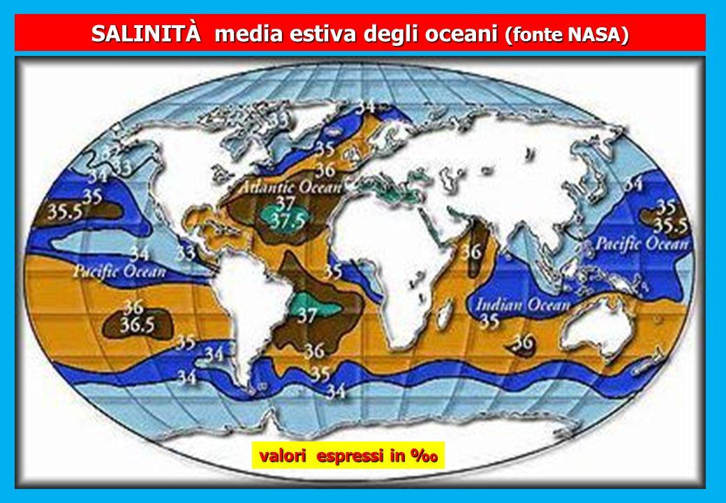 SALINITÀ media estiva degli oceani (fonte NASA) valori espressi in valori espressi in