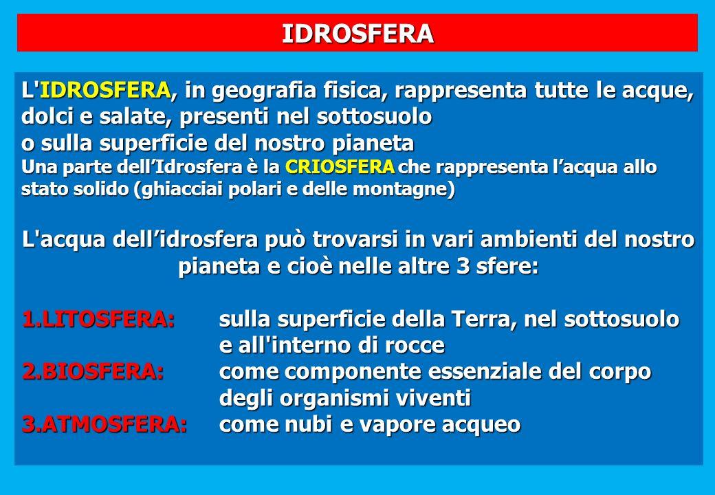 IDROSFERA L'IDROSFERA, in geografia fisica, rappresenta tutte le acque, dolci e salate, presenti nel sottosuolo o sulla superficie del nostro pianeta