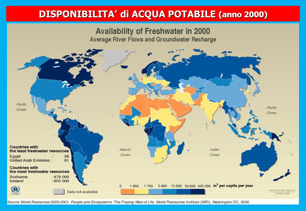 DISPONIBILITA di ACQUA POTABILE (anno 2000)