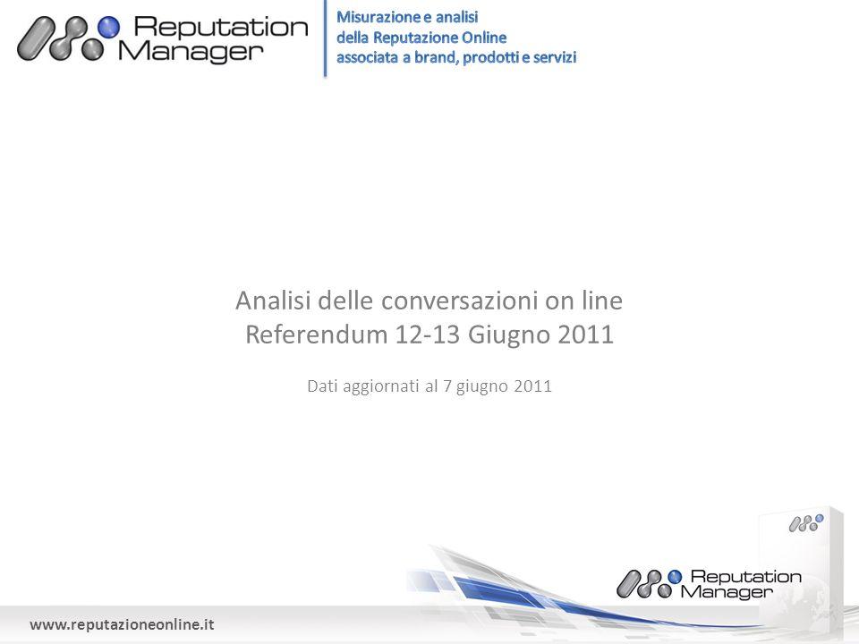 www.reputazioneonline.it Analisi delle conversazioni on line Referendum 12-13 Giugno 2011 Dati aggiornati al 7 giugno 2011