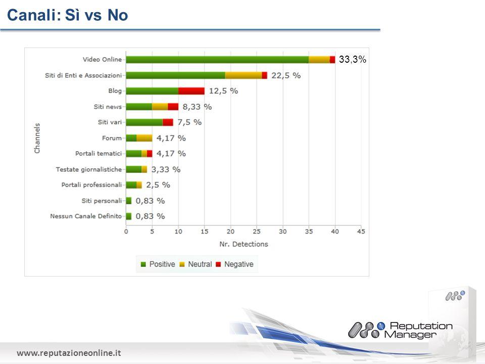 www.reputazioneonline.it Canali: Sì vs No 33,3%