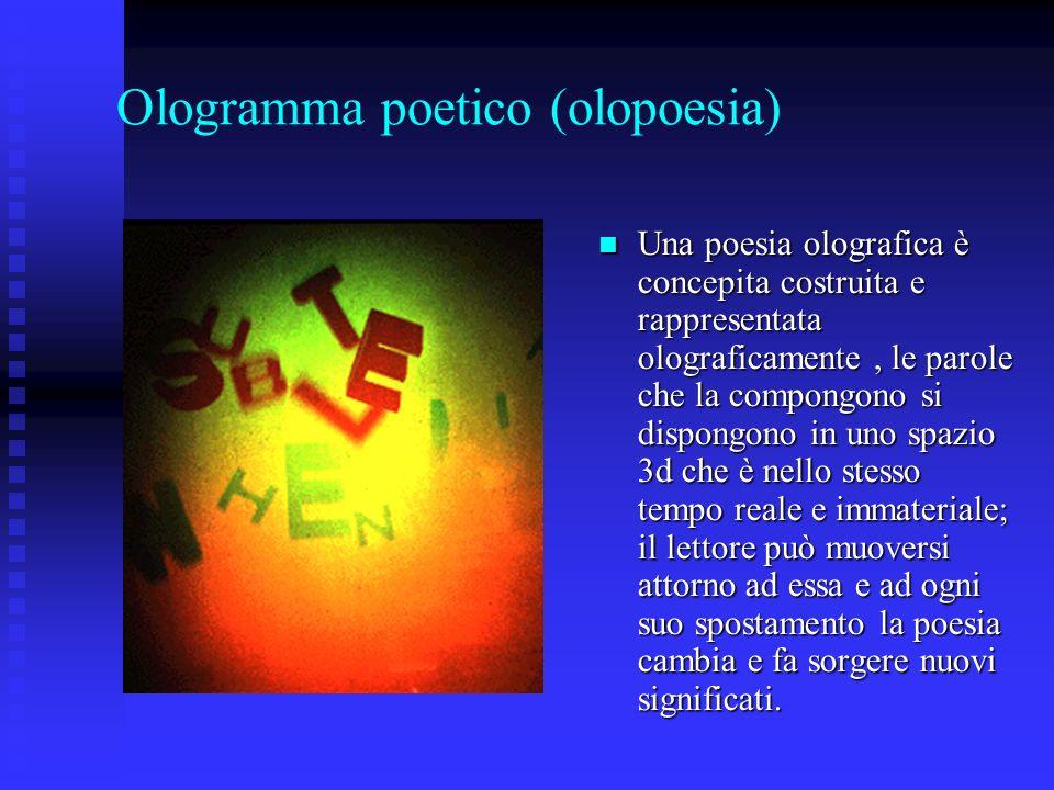 Ologramma poetico (olopoesia) Una poesia olografica è concepita costruita e rappresentata olograficamente, le parole che la compongono si dispongono i