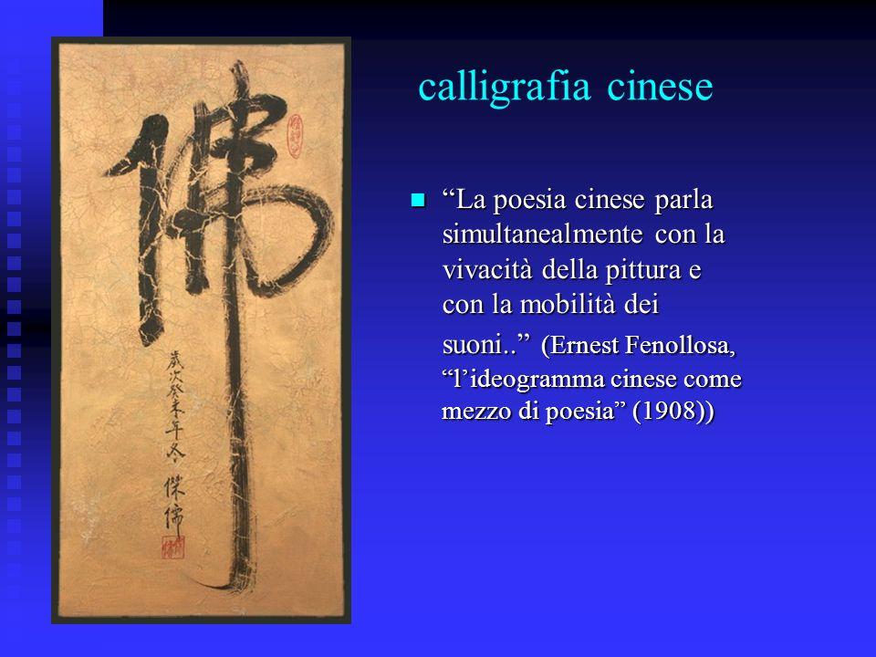 calligrafia cinese La poesia cinese parla simultanealmente con la vivacità della pittura e con la mobilità dei suoni.. (Ernest Fenollosa, lideogramma
