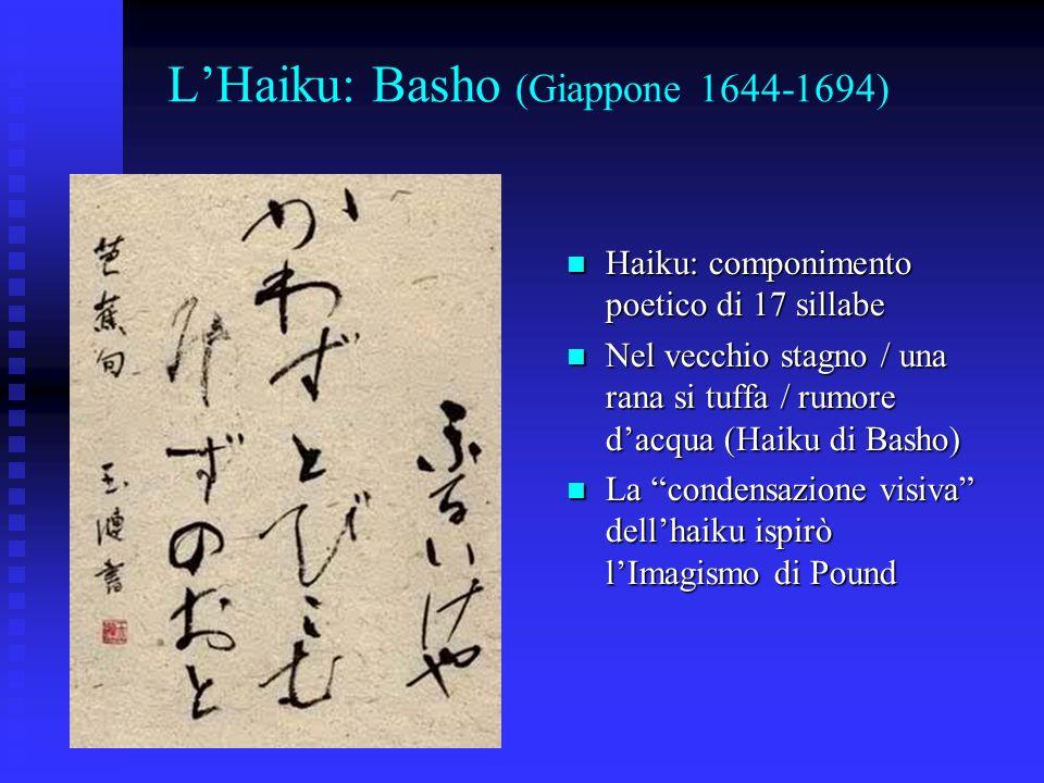 LHaiku: Basho (Giappone 1644-1694) Haiku: componimento poetico di 17 sillabe Haiku: componimento poetico di 17 sillabe Nel vecchio stagno / una rana s
