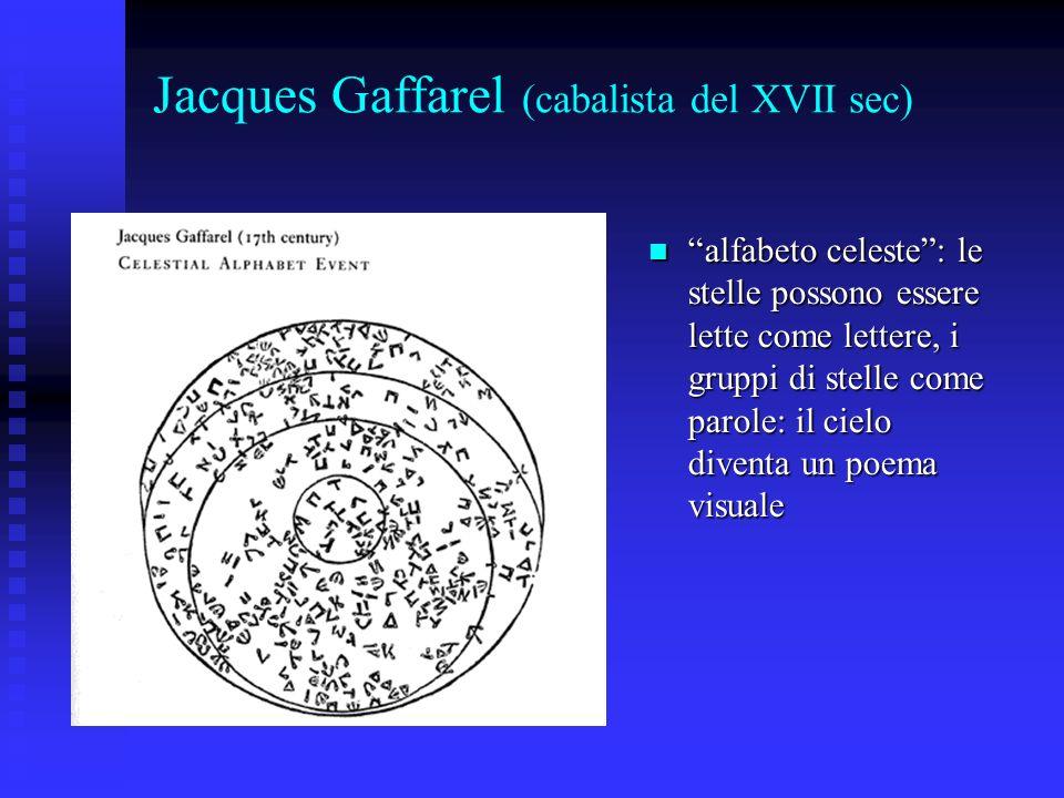 Jacques Gaffarel (cabalista del XVII sec) alfabeto celeste: le stelle possono essere lette come lettere, i gruppi di stelle come parole: il cielo dive