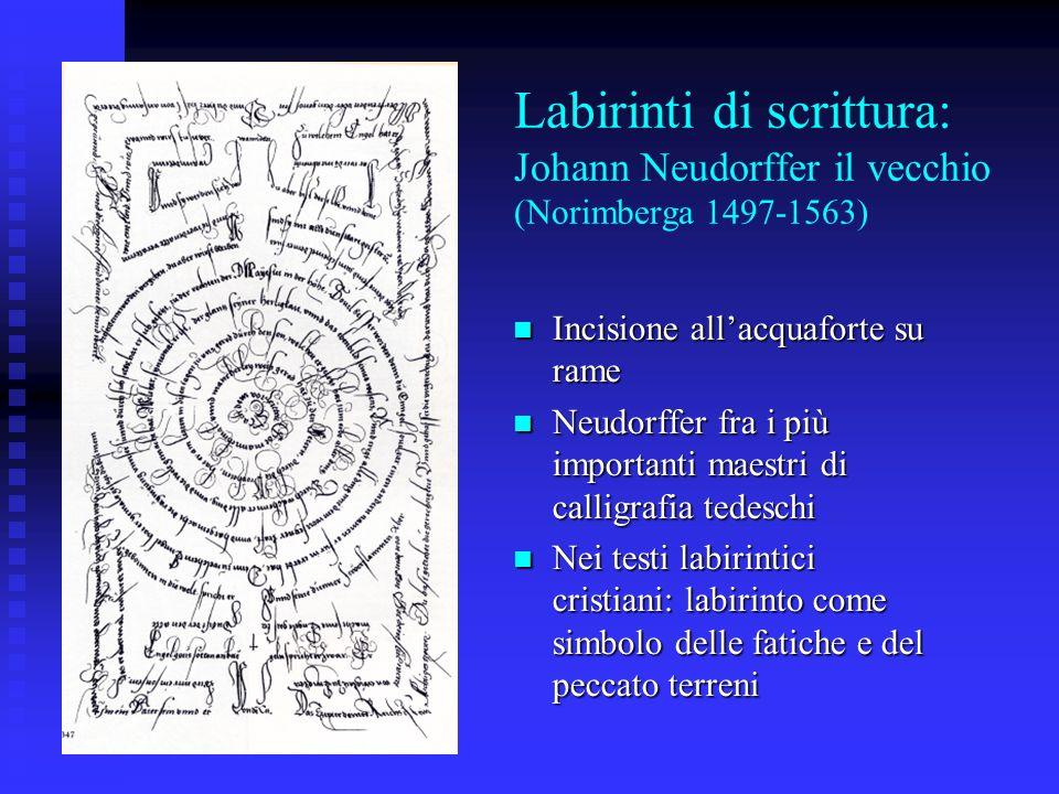 Labirinti di scrittura: Johann Neudorffer il vecchio (Norimberga 1497-1563) Incisione allacquaforte su rame Incisione allacquaforte su rame Neudorffer