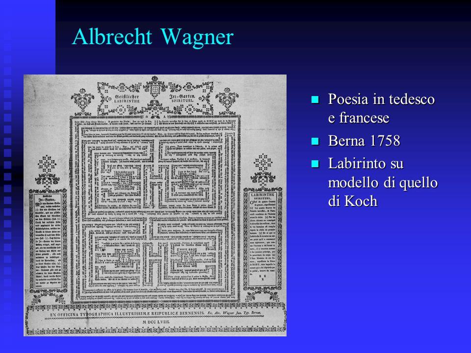 Albrecht Wagner Poesia in tedesco e francese Poesia in tedesco e francese Berna 1758 Berna 1758 Labirinto su modello di quello di Koch Labirinto su mo