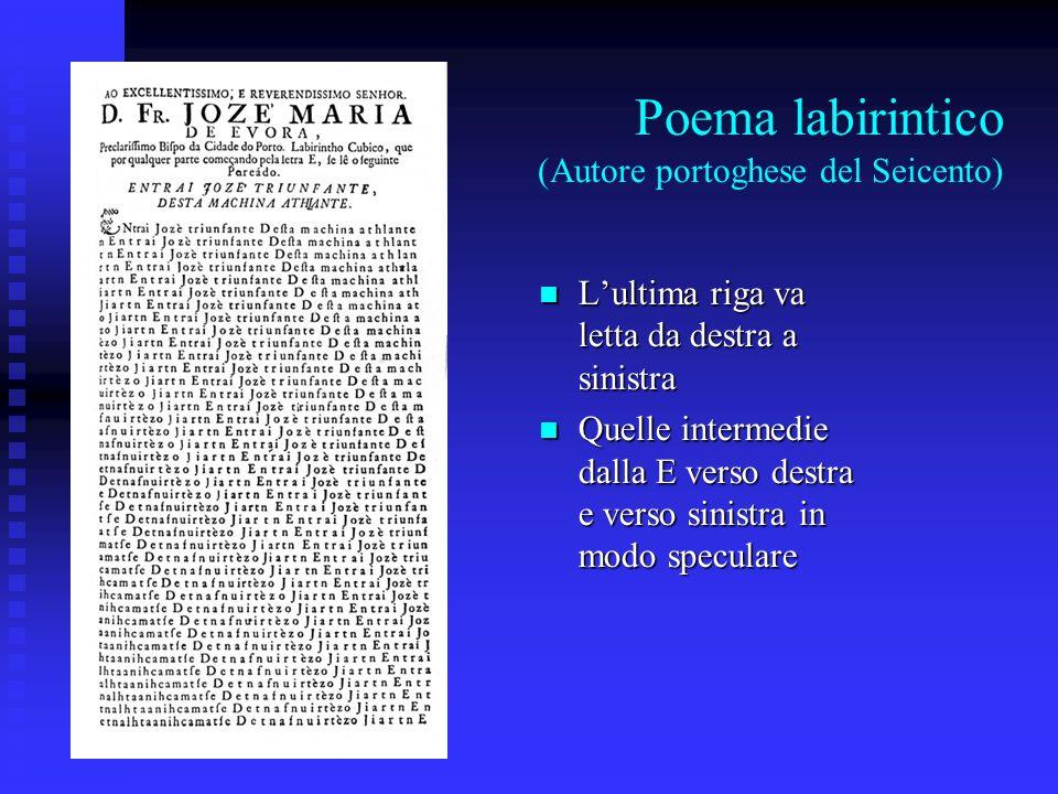 Poema labirintico (Autore portoghese del Seicento) Lultima riga va letta da destra a sinistra Lultima riga va letta da destra a sinistra Quelle interm
