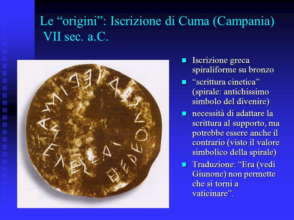 Le origini: Iscrizione di Cuma (Campania) VII sec. a.C. Iscrizione greca spiraliforme su bronzo Iscrizione greca spiraliforme su bronzo scrittura cine