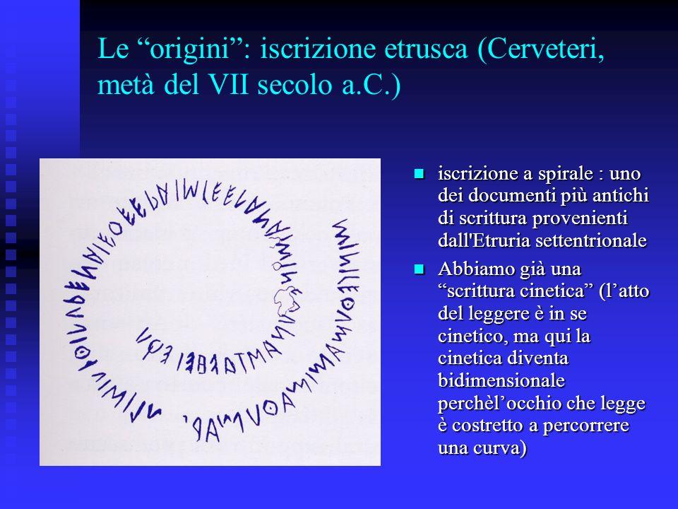 Le origini: iscrizione etrusca (Cerveteri, metà del VII secolo a.C.) iscrizione a spirale : uno dei documenti più antichi di scrittura provenienti dal