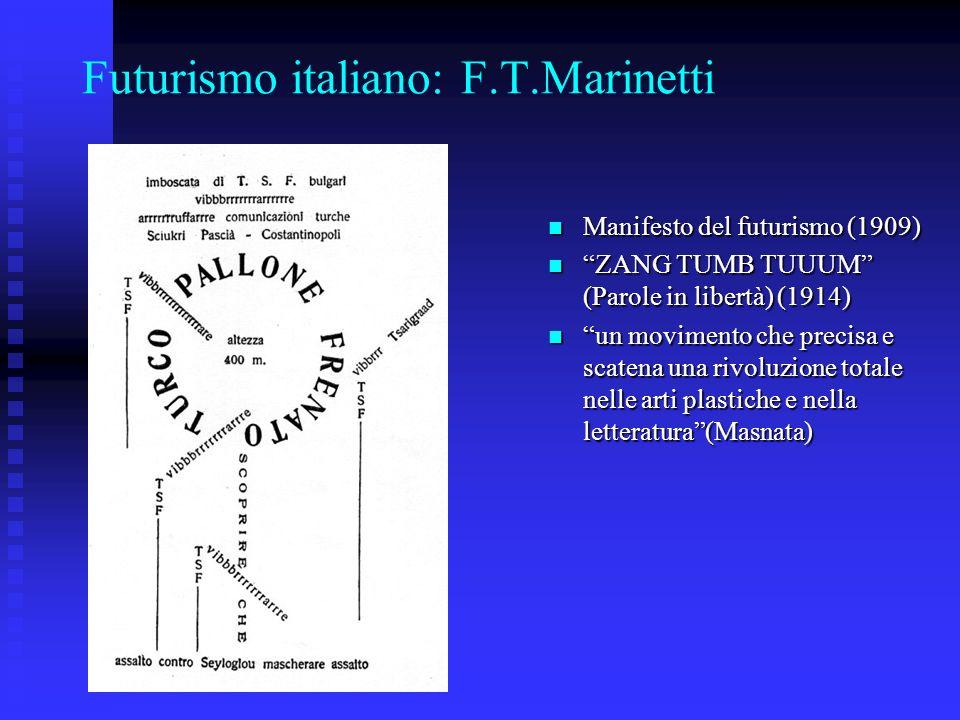 Futurismo italiano: F.T.Marinetti Manifesto del futurismo (1909) Manifesto del futurismo (1909) ZANG TUMB TUUUM (Parole in libertà) (1914) ZANG TUMB T