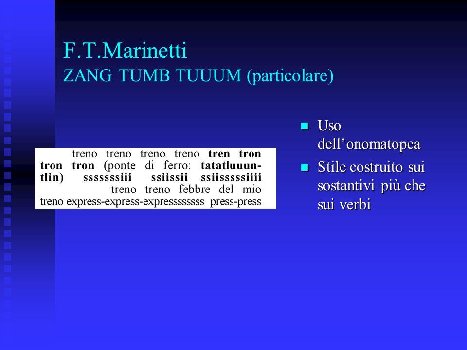 F.T.Marinetti ZANG TUMB TUUUM (particolare) Uso dellonomatopea Uso dellonomatopea Stile costruito sui sostantivi più che sui verbi Stile costruito sui