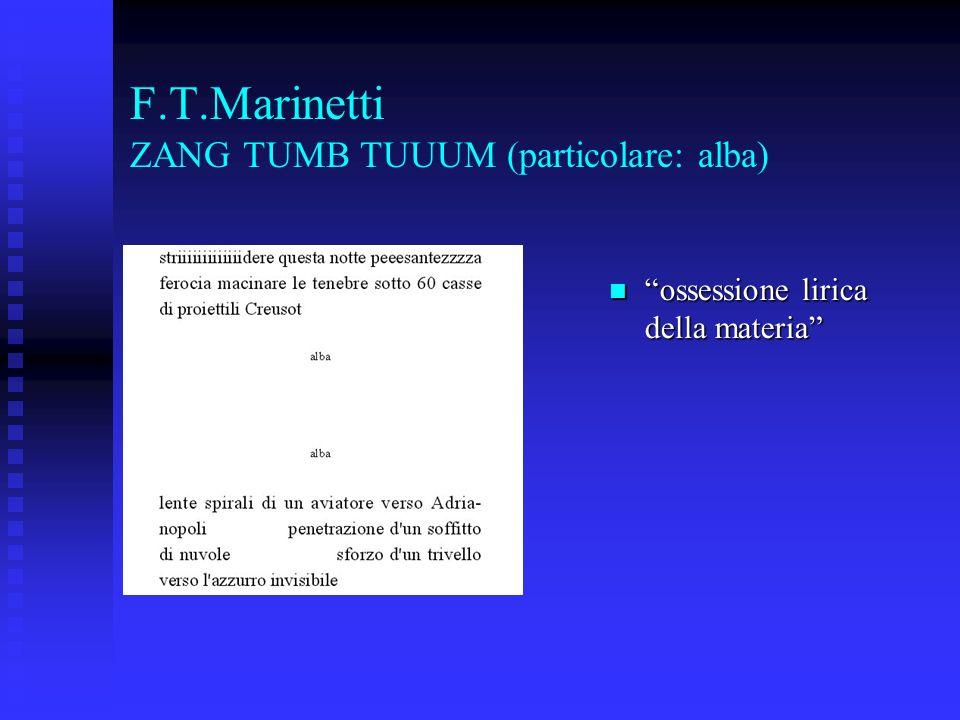 F.T.Marinetti ZANG TUMB TUUUM (particolare: alba) ossessione lirica della materia ossessione lirica della materia