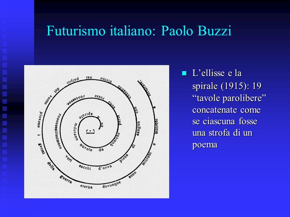 Futurismo italiano: Paolo Buzzi Lellisse e la spirale (1915): 19 tavole parolibere concatenate come se ciascuna fosse una strofa di un poema Lellisse