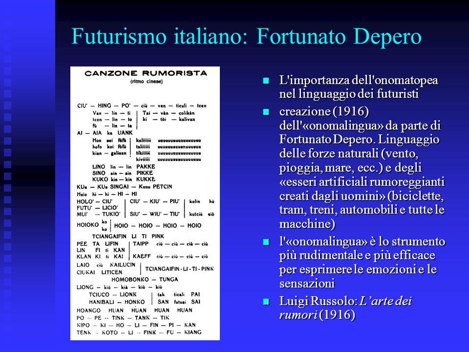 Futurismo italiano: Fortunato Depero L'importanza dell'onomatopea nel linguaggio dei futuristi L'importanza dell'onomatopea nel linguaggio dei futuris
