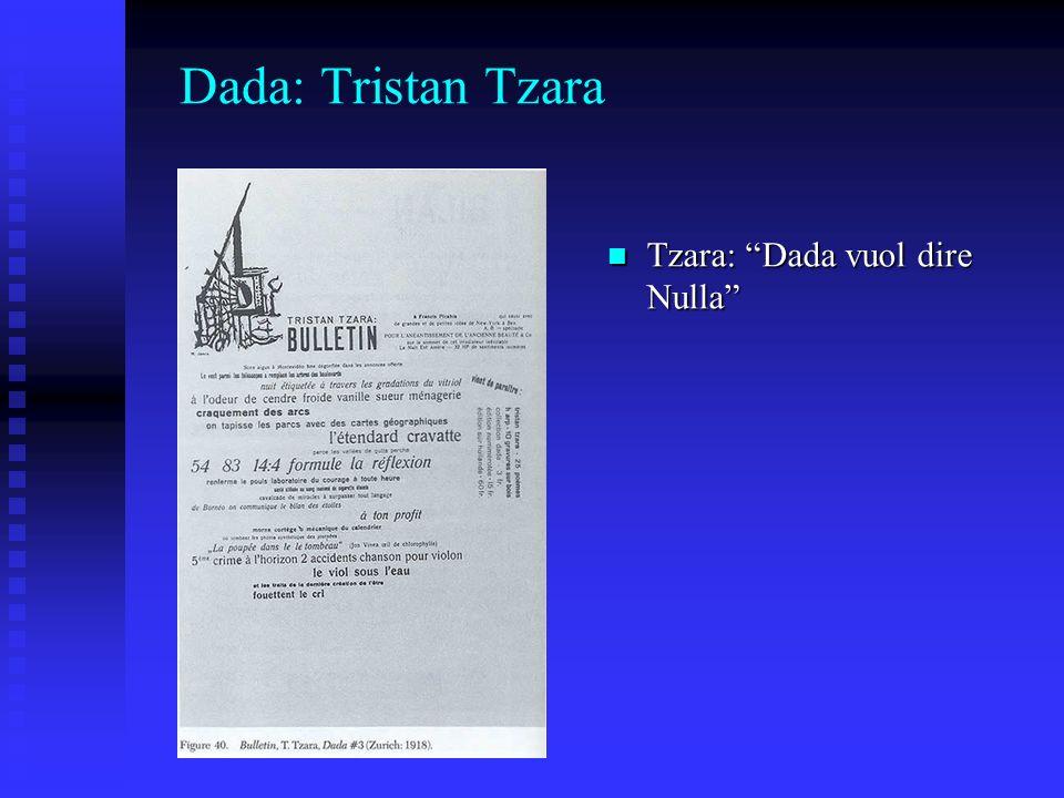 Dada: Tristan Tzara Tzara: Dada vuol dire Nulla Tzara: Dada vuol dire Nulla