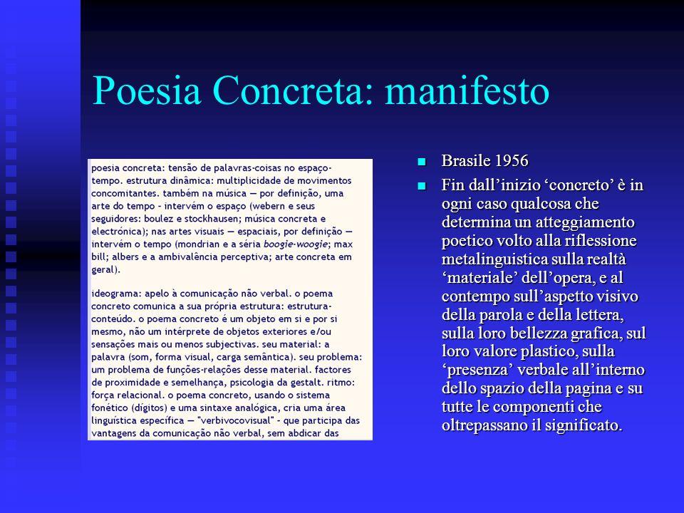 Poesia Concreta: manifesto Brasile 1956 Brasile 1956 Fin dallinizio concreto è in ogni caso qualcosa che determina un atteggiamento poetico volto alla