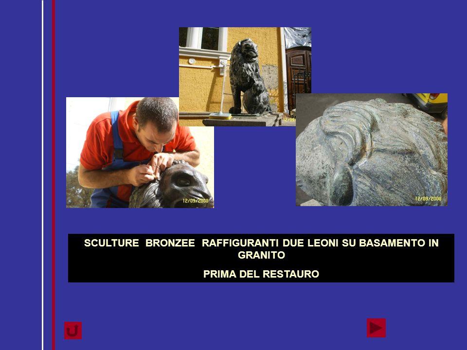 SCULTURE BRONZEE RAFFIGURANTI DUE LEONI SU BASAMENTO IN GRANITO PRIMA DEL RESTAURO