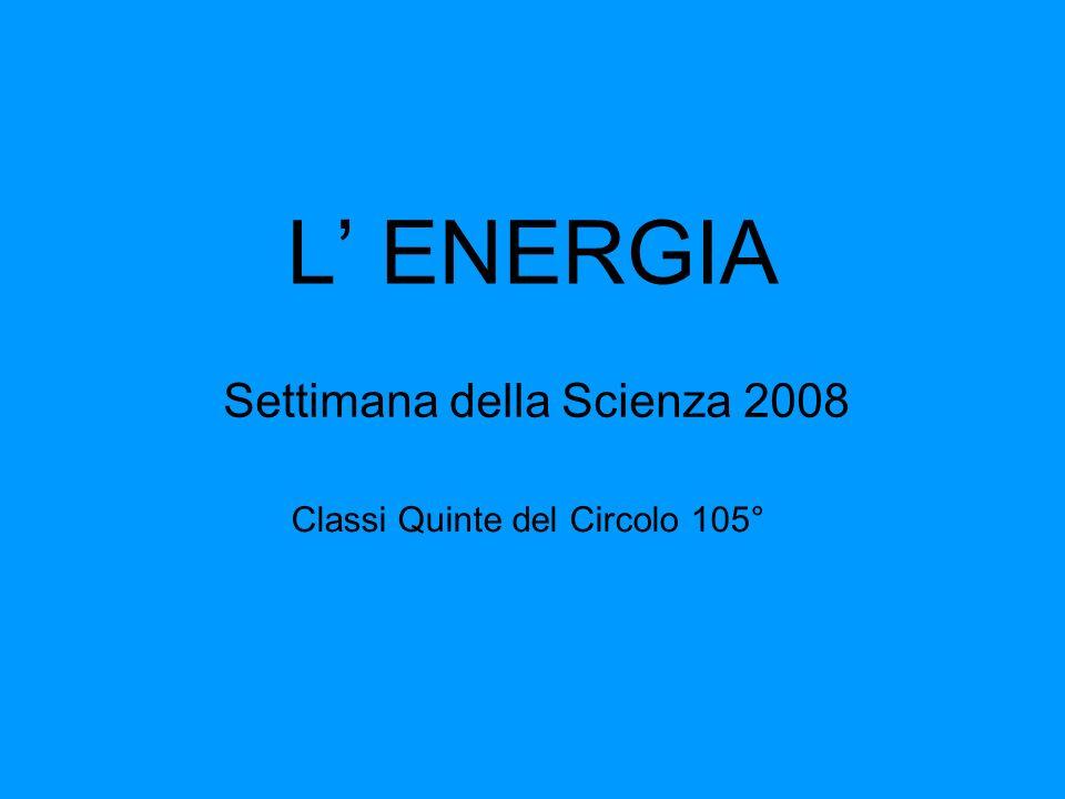 L ENERGIA Settimana della Scienza 2008 Classi Quinte del Circolo 105°