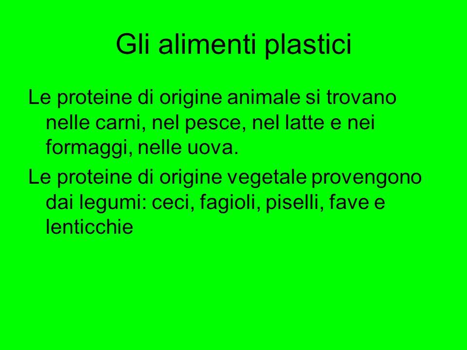 Gli alimenti plastici Le proteine di origine animale si trovano nelle carni, nel pesce, nel latte e nei formaggi, nelle uova. Le proteine di origine v