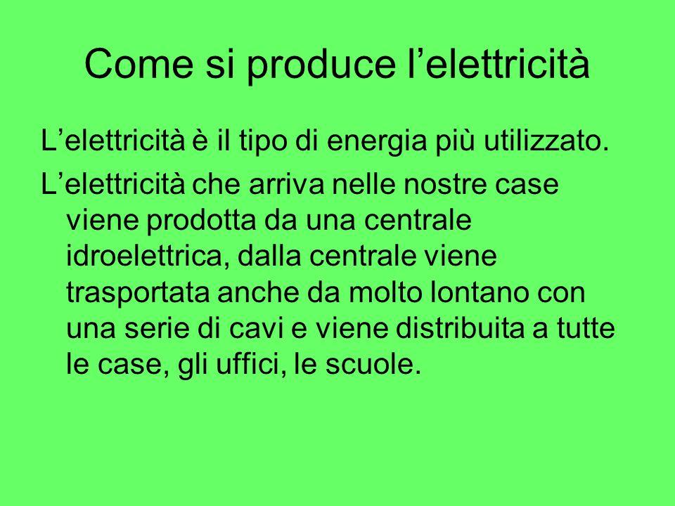 Come si produce lelettricità Lelettricità è il tipo di energia più utilizzato. Lelettricità che arriva nelle nostre case viene prodotta da una central