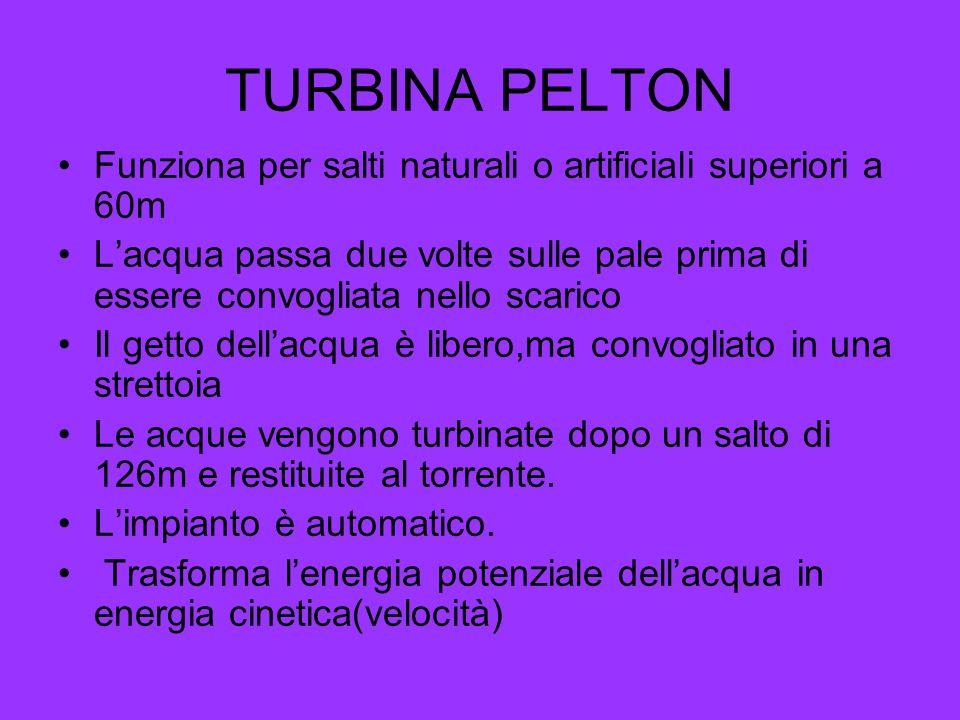 TURBINA PELTON Funziona per salti naturali o artificiali superiori a 60m Lacqua passa due volte sulle pale prima di essere convogliata nello scarico I