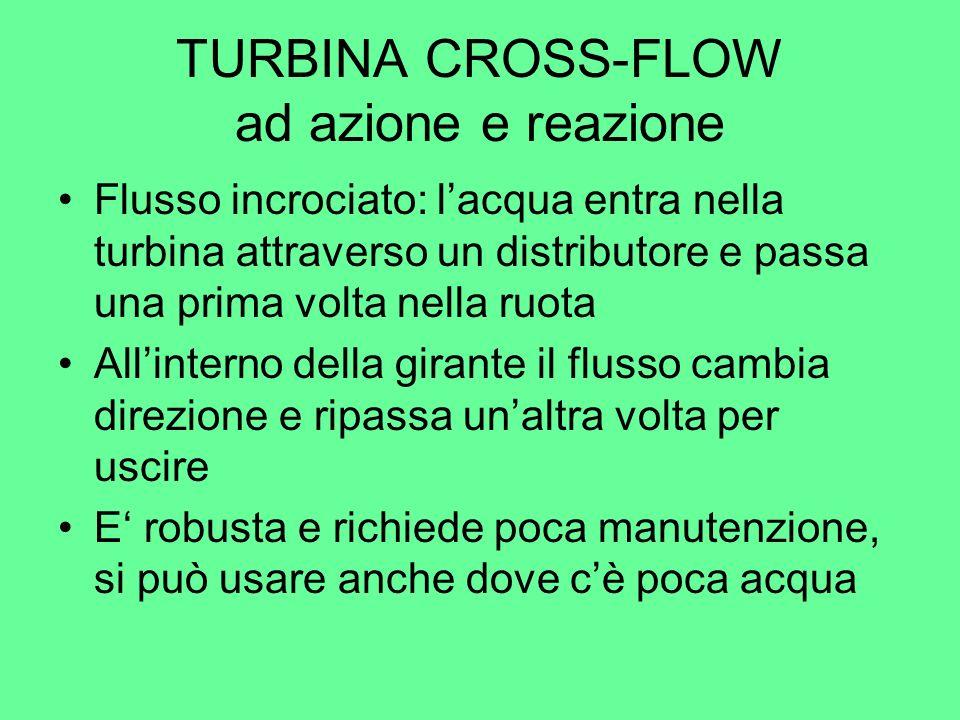 TURBINA CROSS-FLOW ad azione e reazione Flusso incrociato: lacqua entra nella turbina attraverso un distributore e passa una prima volta nella ruota A