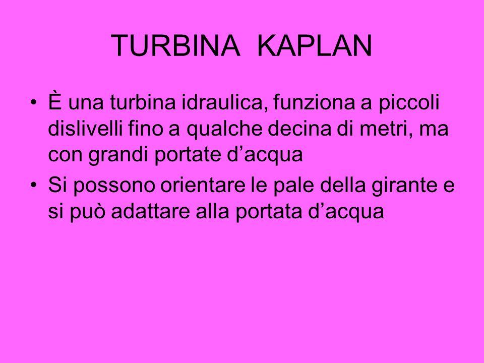 TURBINA KAPLAN È una turbina idraulica, funziona a piccoli dislivelli fino a qualche decina di metri, ma con grandi portate dacqua Si possono orientar