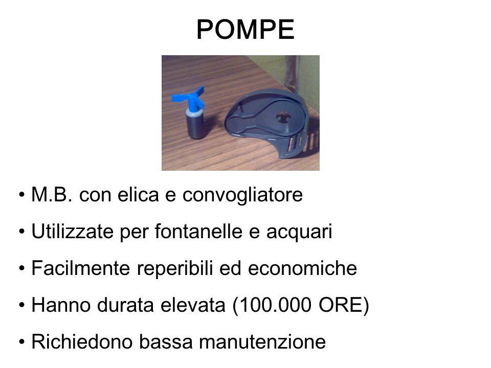 POMPE M.B. con elica e convogliatore Utilizzate per fontanelle e acquari Facilmente reperibili ed economiche Hanno durata elevata (100.000 ORE) Richie